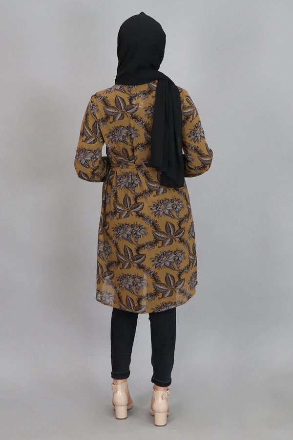 Dark Mustard Floral Long Blouse (4545267925049)