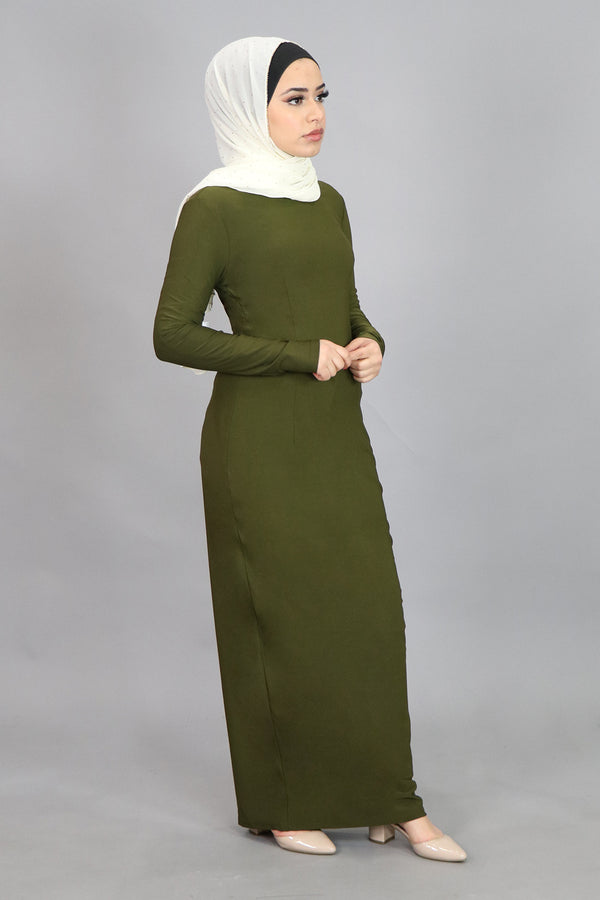 Light Olive Green Plain Fitted Spandex Maxi Dress (4549778145337)