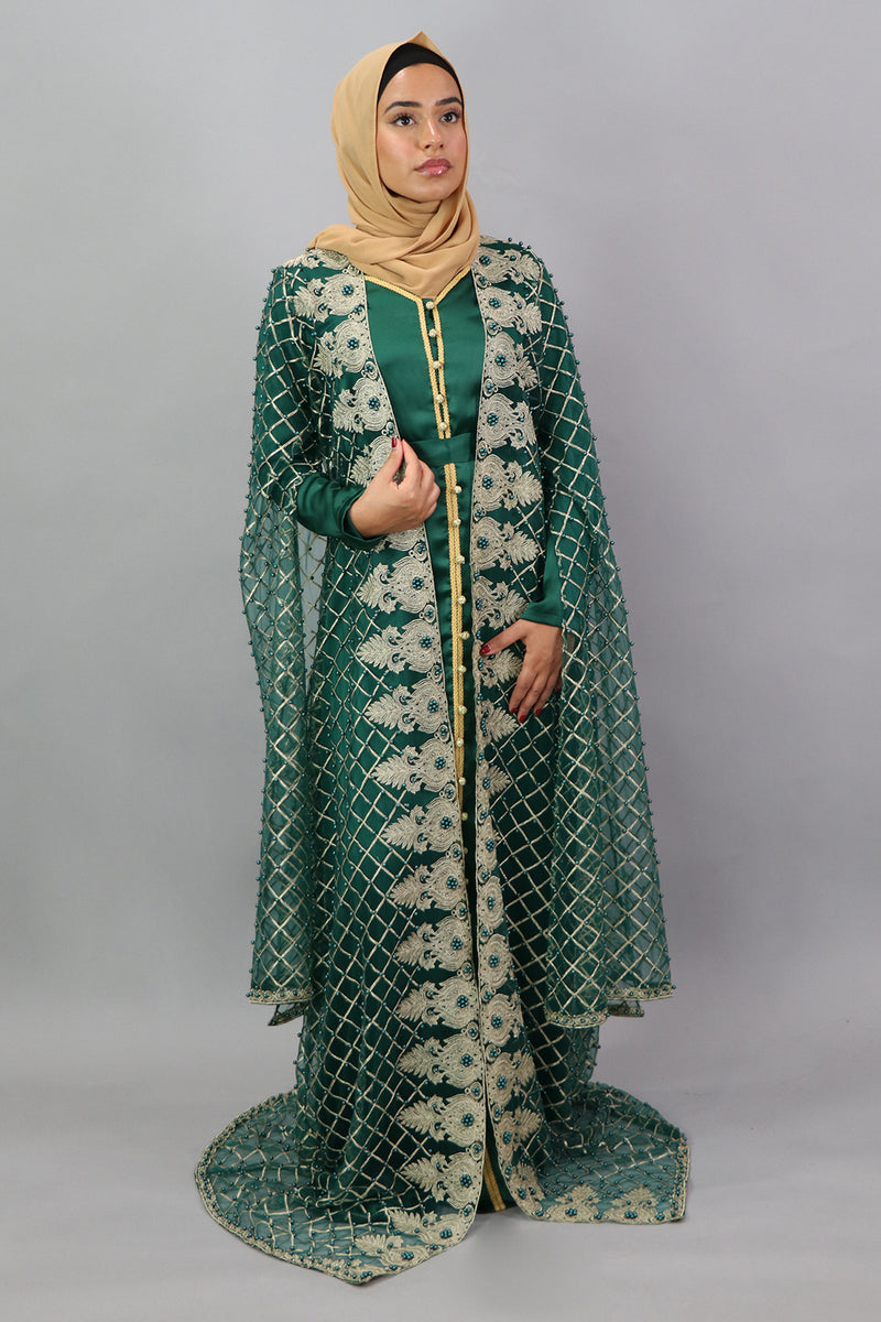 LaMeera VIP Embroidery Lace Kaftan  Set- Forest Green