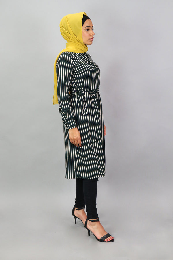 Hunter Green Striped Long Tunic (4545247641657)