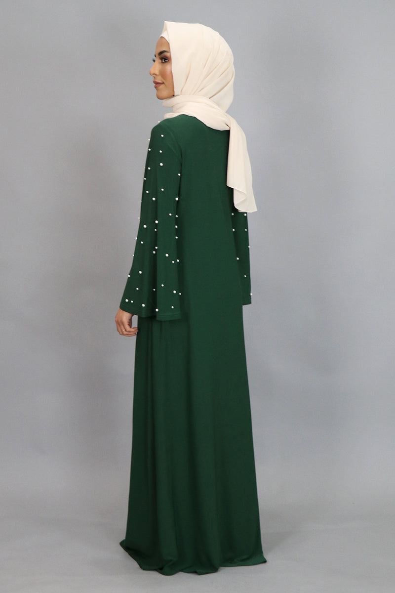 Hunter Green Wide Sleeve Pearls Spandex Maxi Dress (4549742166073)