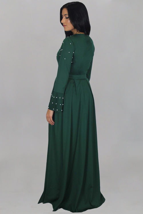 Emerald Green Pearls Maxi Dress (1607528710201)