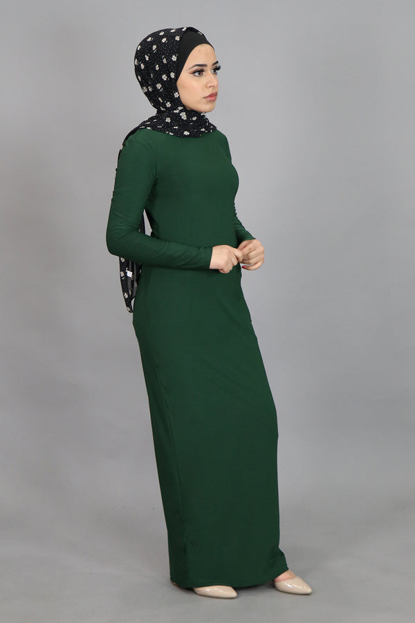 Hunter Green Plain Fitted Spandex Maxi Dress (4540257304633)