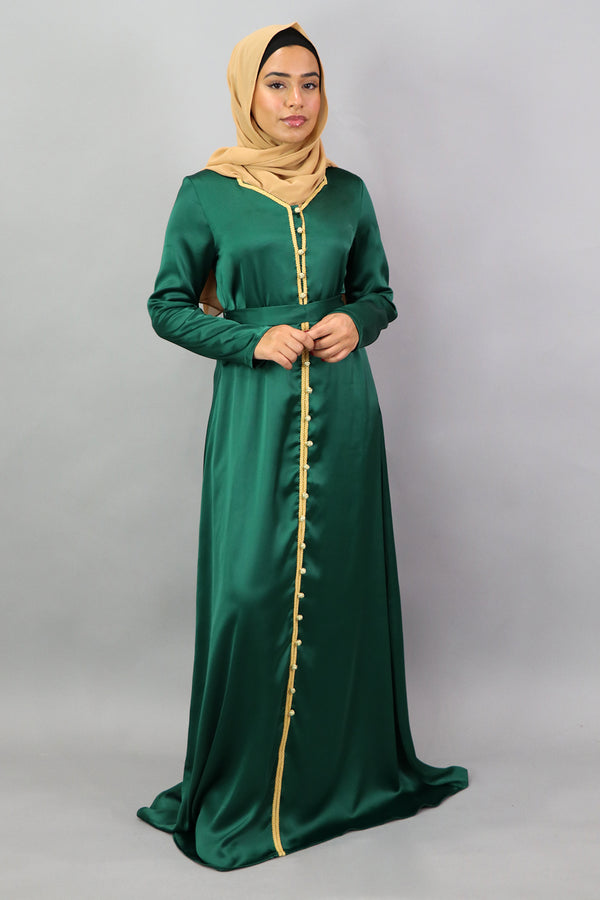 LaMeera Satin Kaftan - Emerald Green