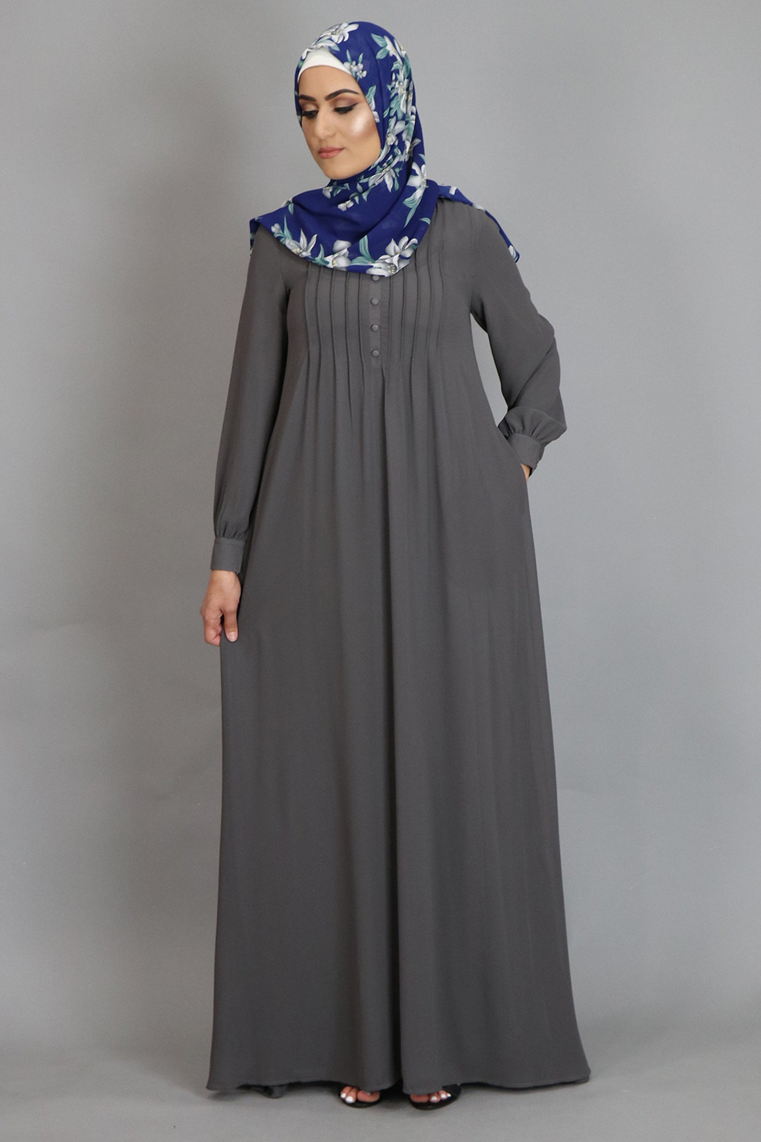 Dark Gray Pleated Chiffon Abaya