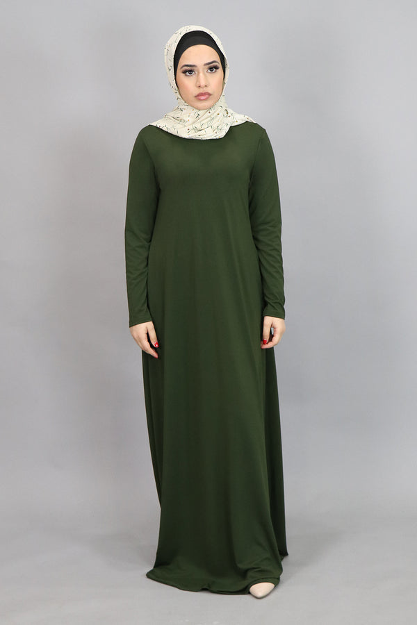 Deep Olive Long Sleeve Spandex Maxi Dress (4534799794233)