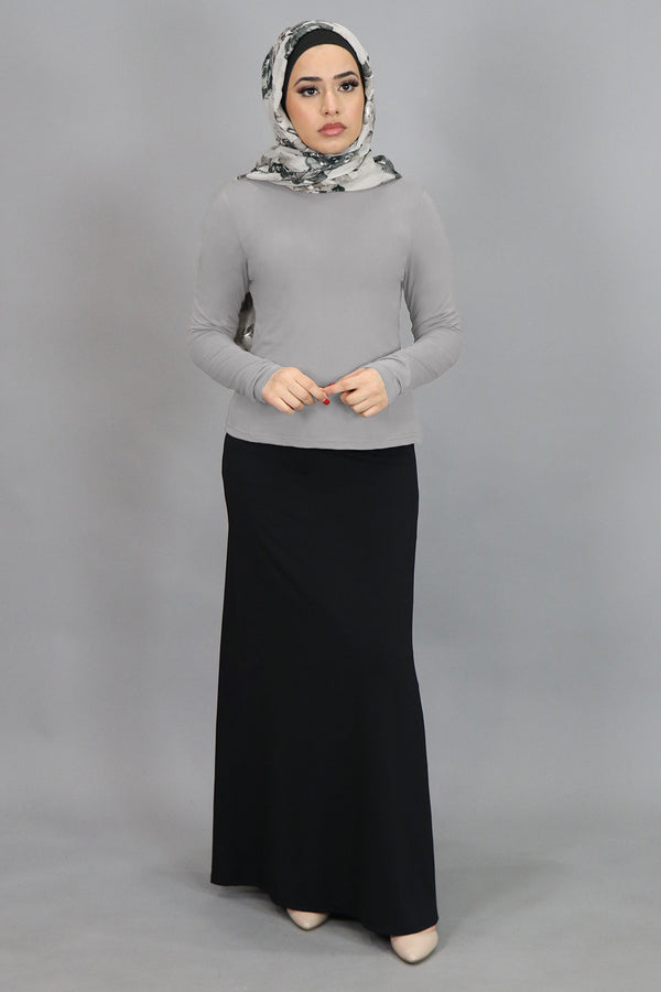 Light Gray Long Sleeve Top (4549414715449)