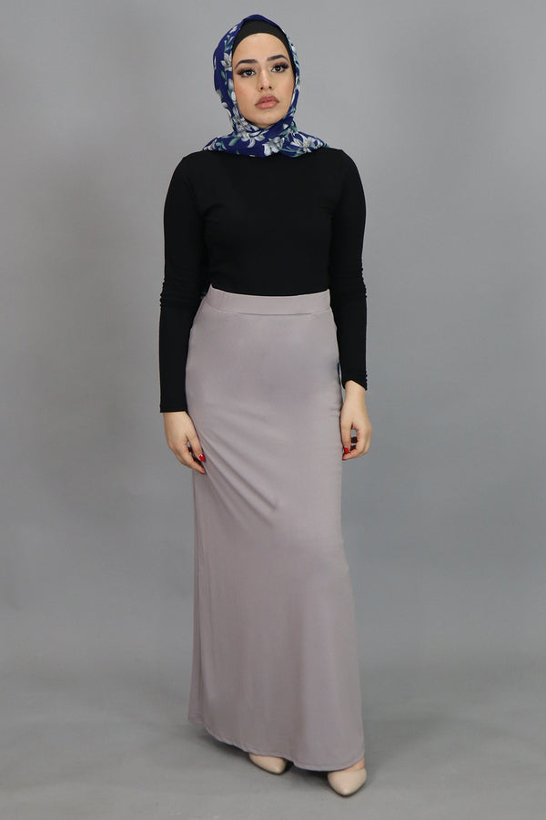 Light Gray Spandex Maxi Skirt (4536995872825)