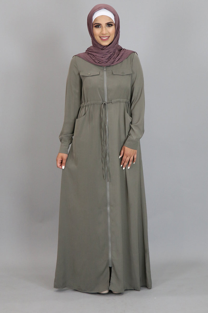 Koala Grey Zipper-Down Maxi Dress (2310740148281)