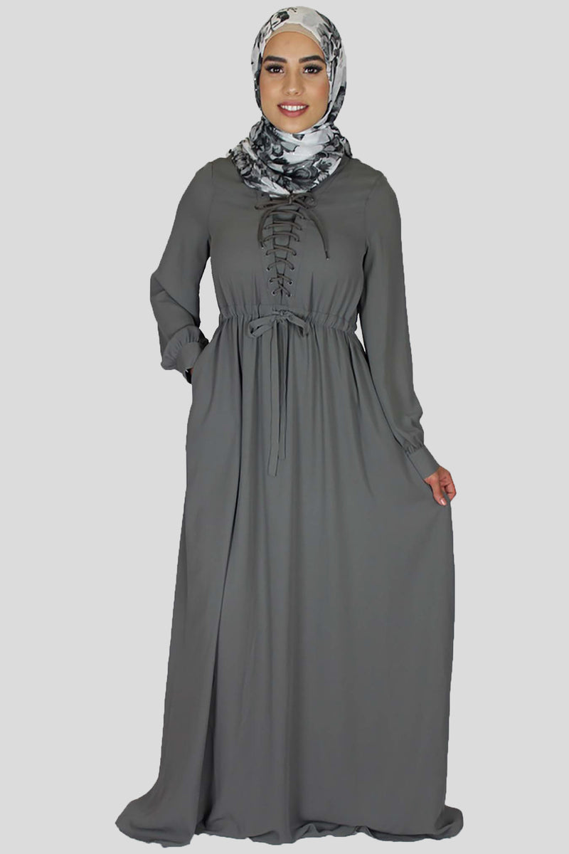 Deep Koala Gray Lace-up Chiffon Maxi Dress (754983927865)