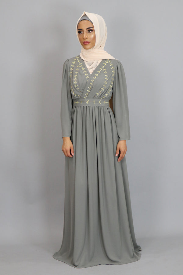 Stone Gray Embroidery Folds Maxi Dress (2381941473337)