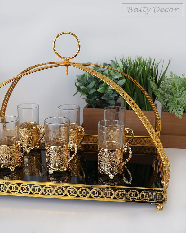 Black and Gold Tray with Elegant Handles (4608149487673)