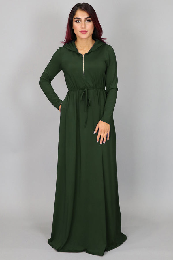 Hunter Green Alexa Zipper Maxi Dress (4552278933561)