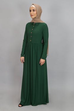 Hunter Green Button-Up Spandex Maxi Dress (4549656412217)