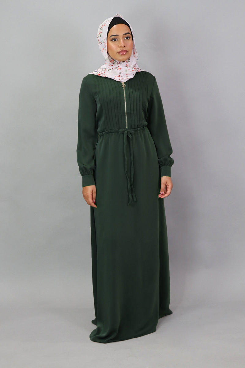 Emerald Green Deluxe Soft Pleated Dress (5300857471144)