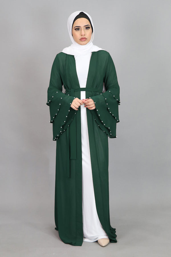 Hunter Green Chiffon Pearls Abaya Buttoned-Down Cardigan Dress (4644776214585)