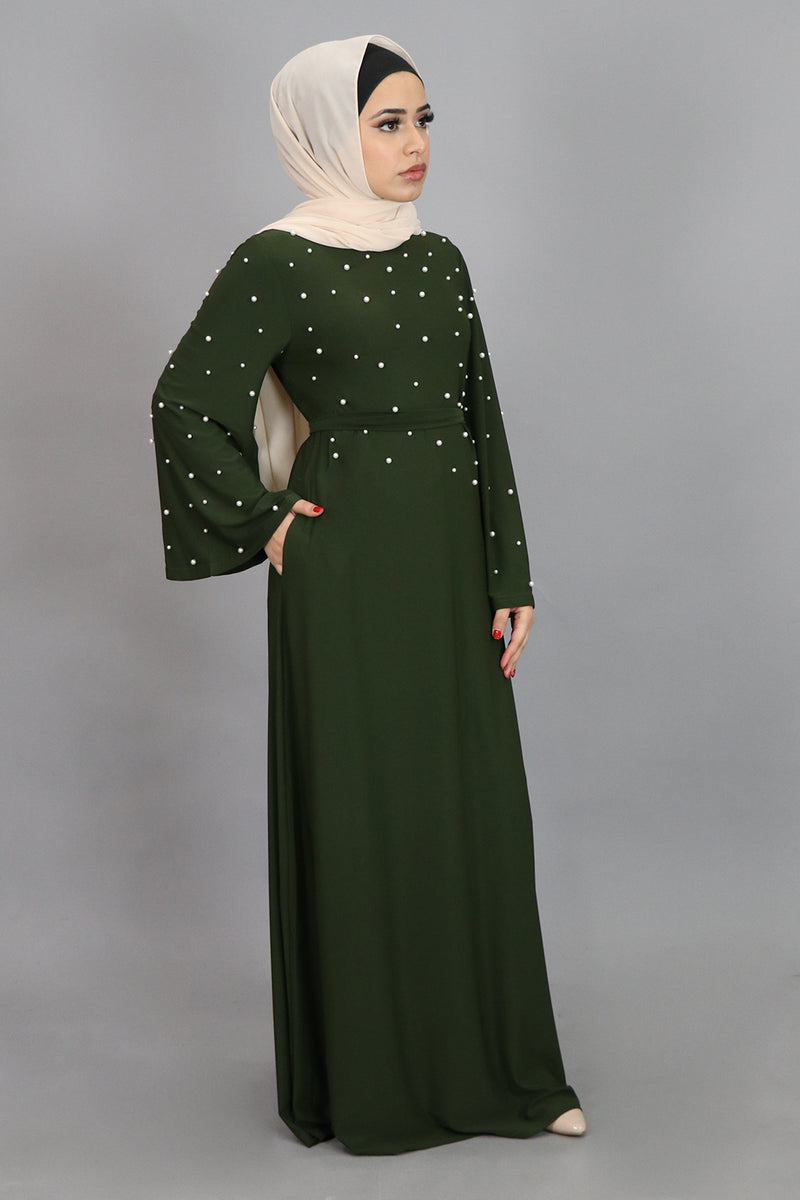 Olive Green Wide Sleeve Pearls Spandex Maxi Dress (4549740003385)