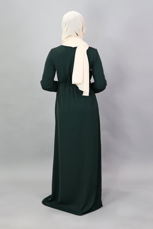 Jade Green Deluxe Soft Zipper-Down Maxi Dress (5257516318888)