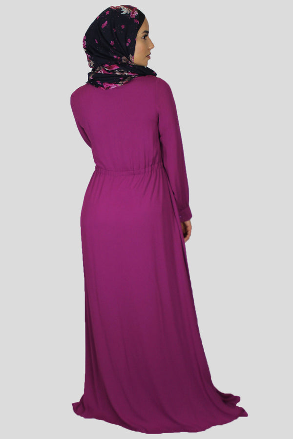 Fuchsia Chiffon Button Maxi Dress (1528074666041)