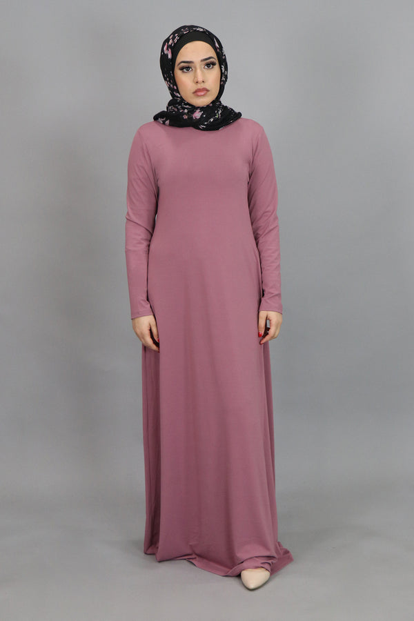 Rose Pink Long Sleeve Spandex Maxi Dress (4534802382905)