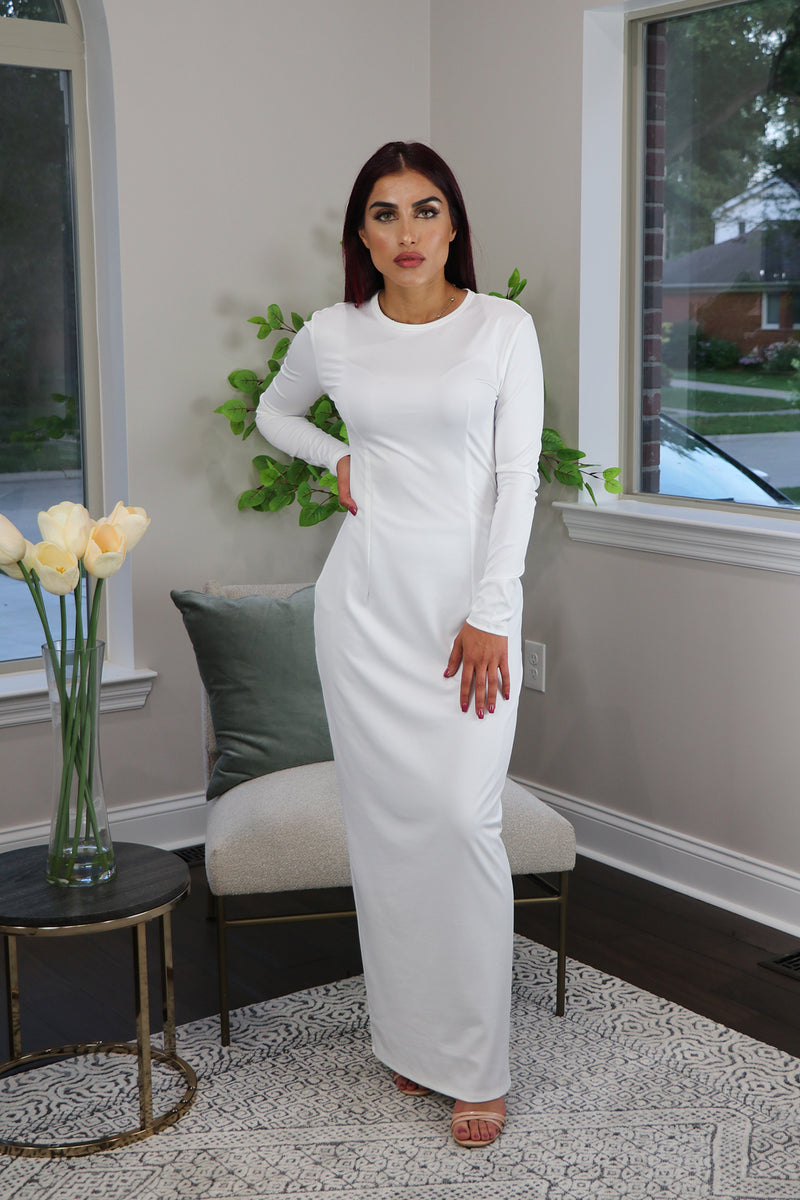 White Plain Fitted Silky Spandex Maxi Dress