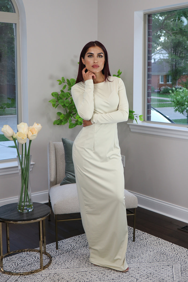 Ivory Plain Fitted Silky Spandex Maxi Dress