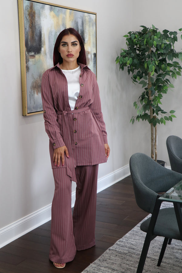 Blazer Striped 2-Piece Pants Set - Rose Pink