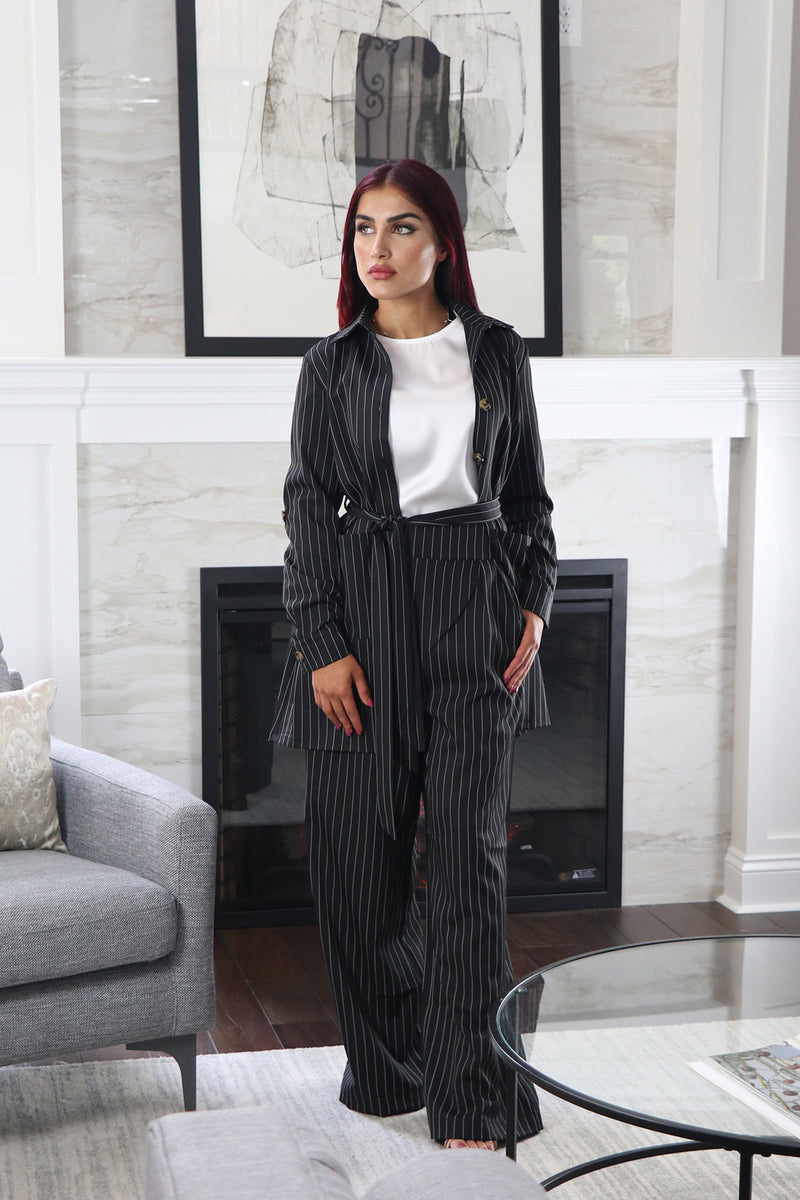 Blazer Striped 2-Piece Pants Set - Black
