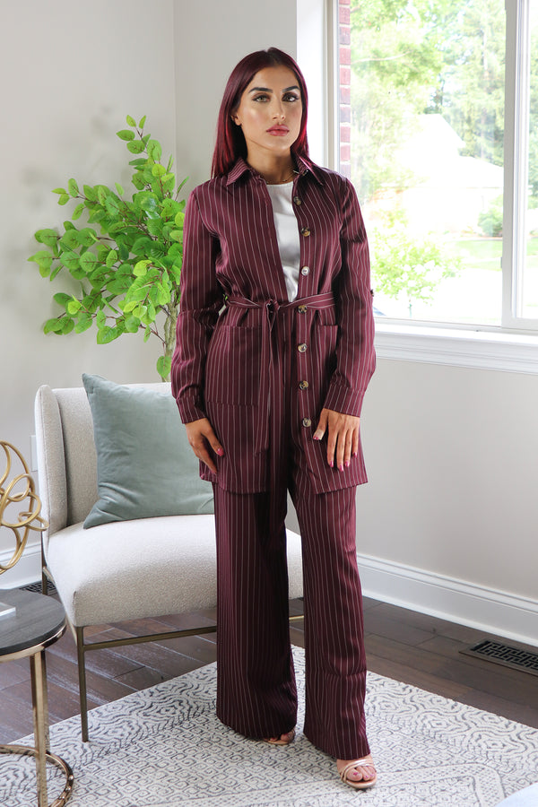 Blazer Striped 2-Piece Pants Set - Mahogany