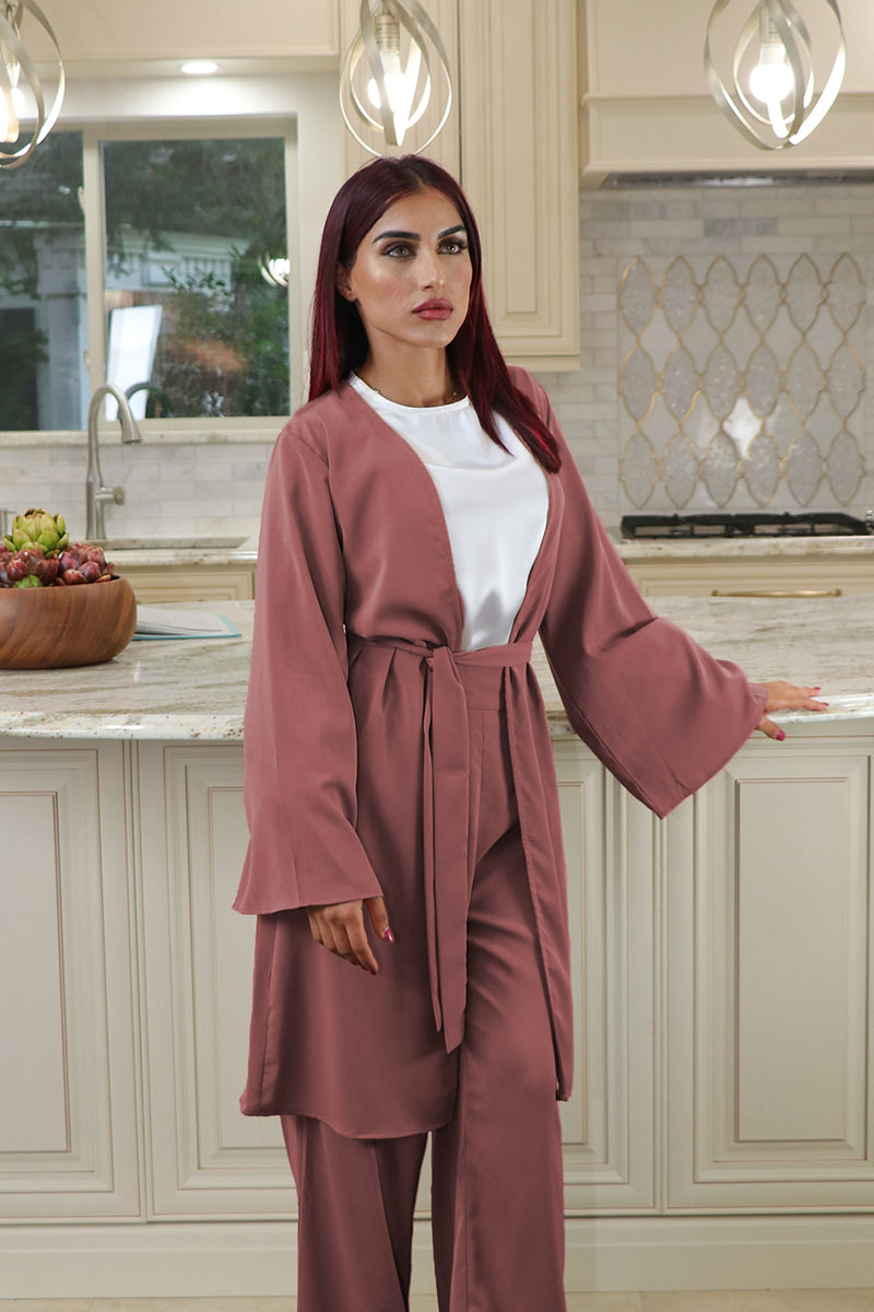 Deluxe Soft Wide Sleeve Cardigan- Rusty Pink