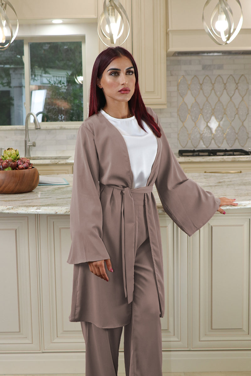 Deluxe Soft Wide Sleeve Cardigan- Mink