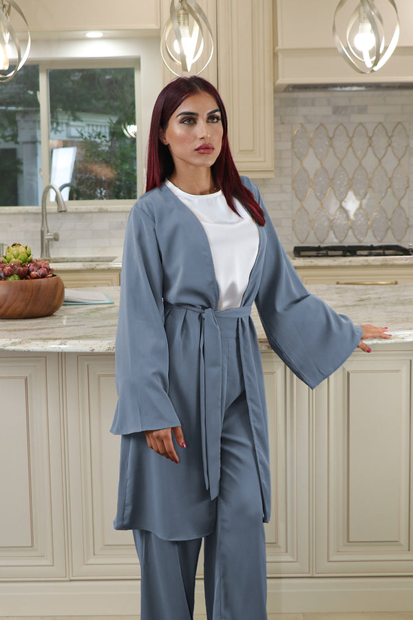 Deluxe Soft Wide Sleeve Cardigan- Dusty Blue