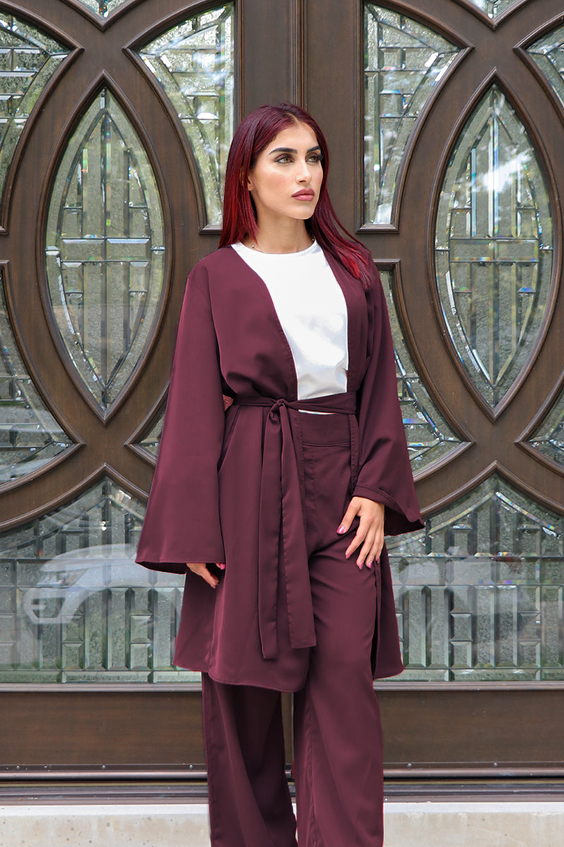 Deluxe Soft Wide Sleeve Cardigan- Mahogany