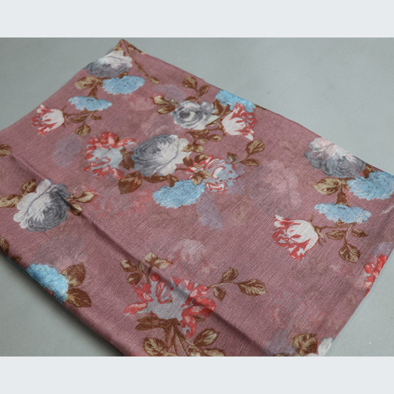 Pink Floral Cotton Scarf (2356331675705)