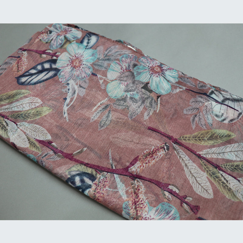 Pink Floral Cotton Scarf (2356435681337)