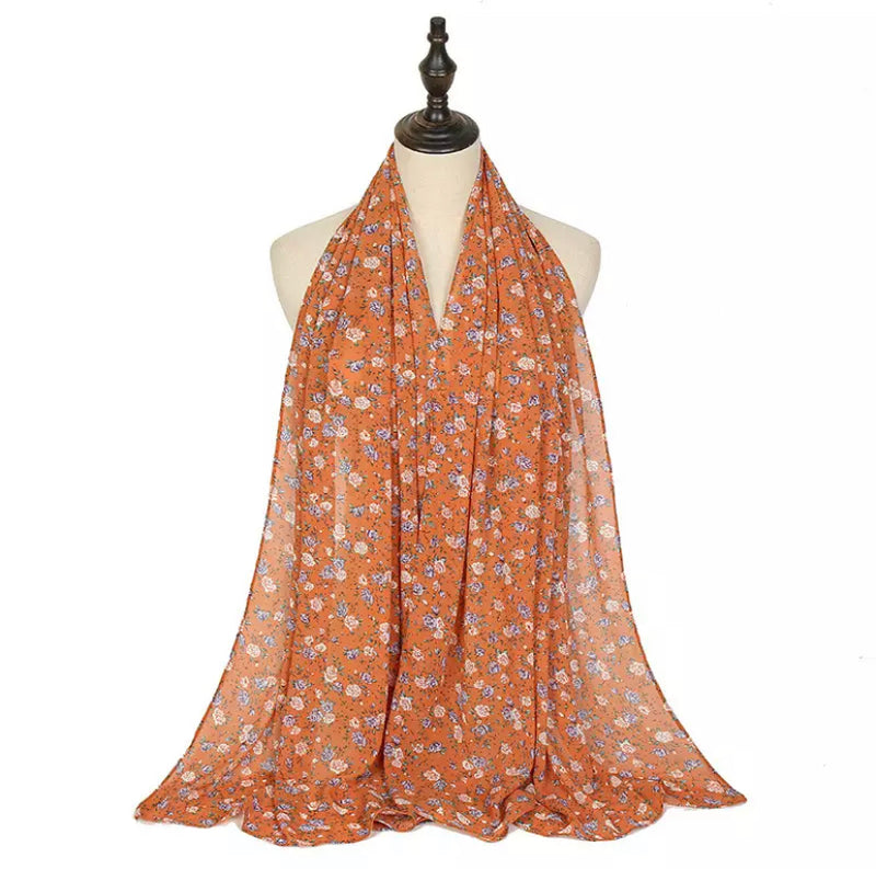Orange Floral Chiffon Bubble Scarf