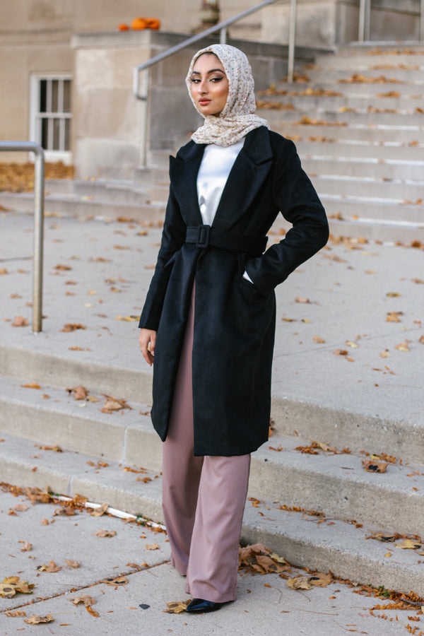 Wool Belted Coat - Black