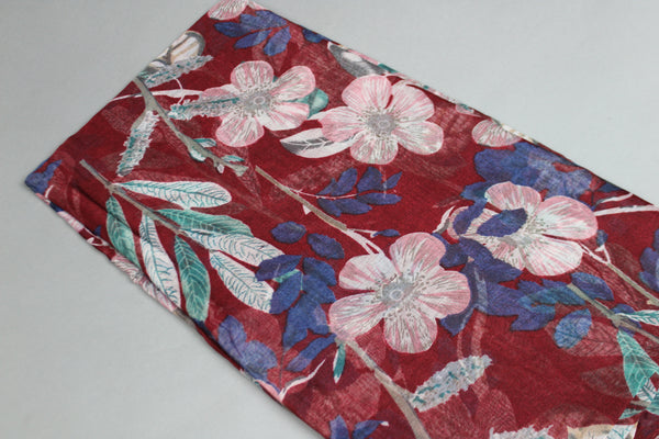 Red Floral Cotton Scarf (2186761568313)