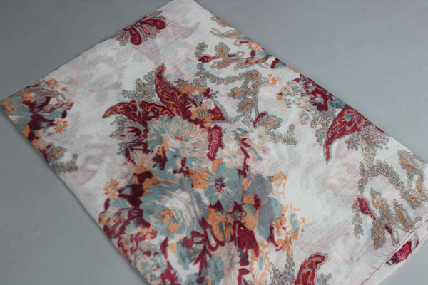 Off White Floral Cotton Scarf (4428060721209)