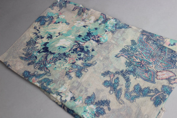 Blue Floral Cotton Scarf (4428088148025)