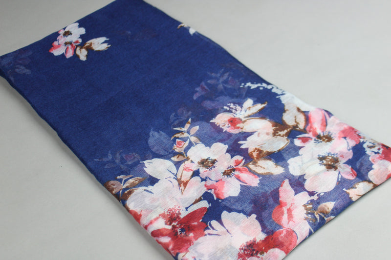 Dark Blue Floral Cotton Scarf (2186746331193)