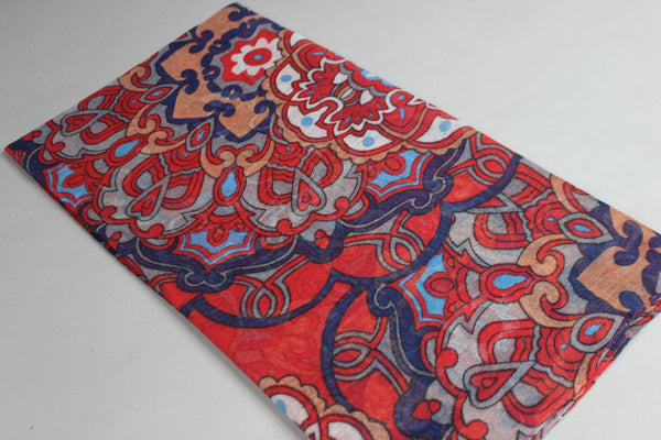 Maroon Floral Cotton Scarf (4428109348921)