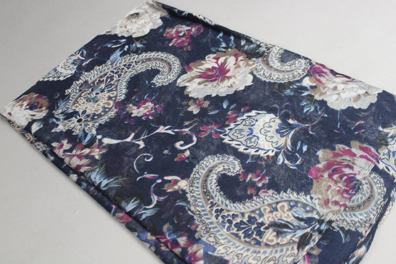 Navy Blue Floral Cotton Scarf (2186729488441)