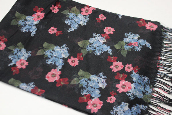 Black Floral Cotton Scarf (4428138676281)