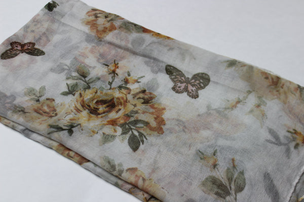 Olive Green Floral Cotton Scarf (4428187500601)