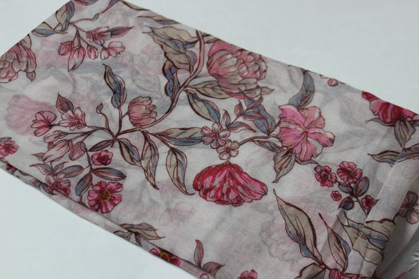 White Floral Cotton Scarf (4428187697209)