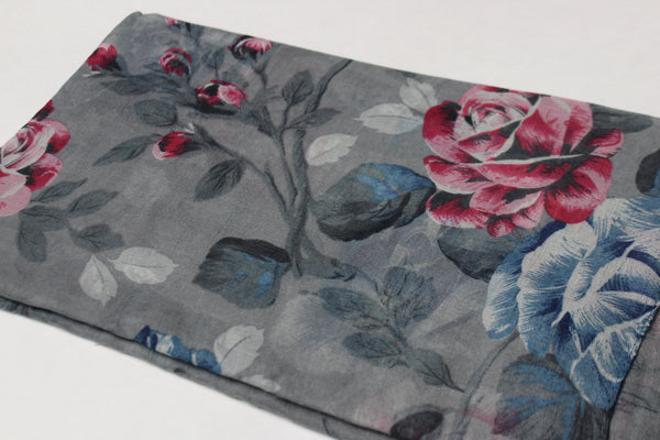 Gray Floral Cotton Scarf (4428192088121)