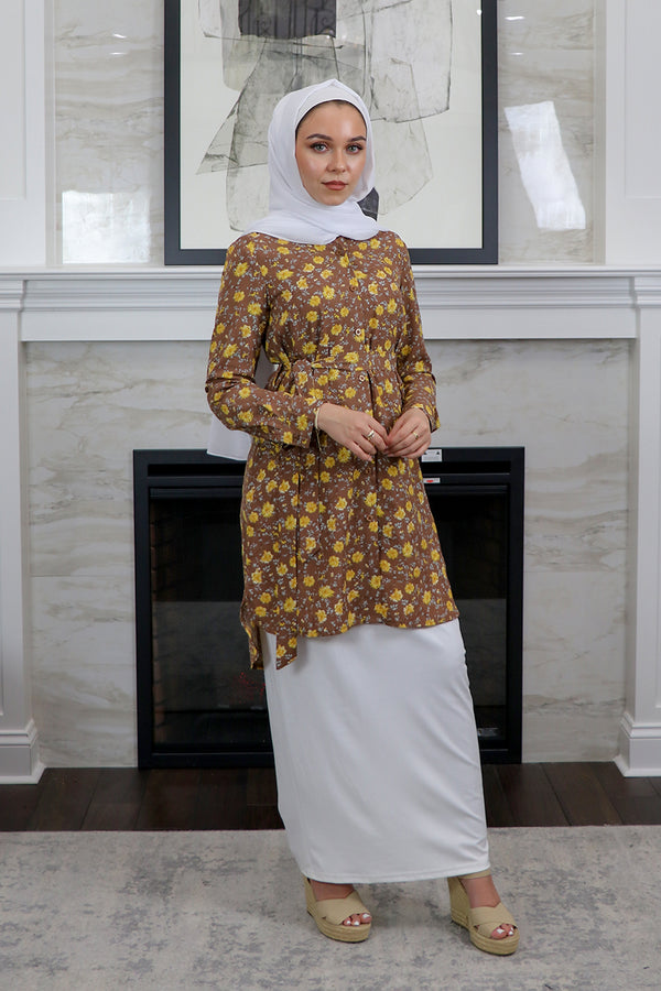 Mocha Brown Floral Long Blouse