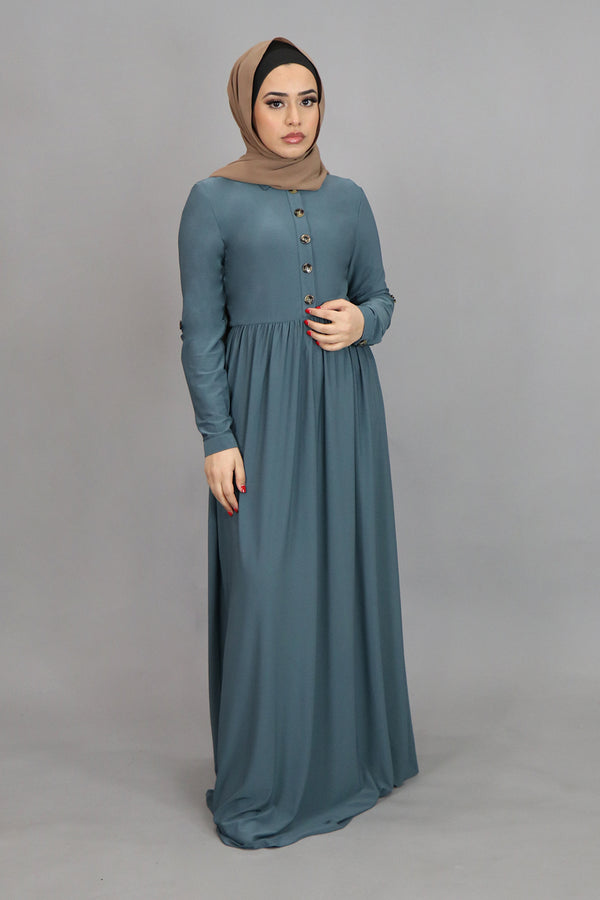 Mint Gray Button-Up Spandex Maxi Dress (4549644910649)