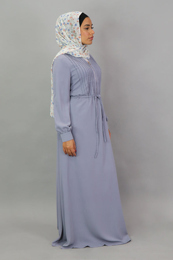 Dusty Blue Deluxe Soft Pleated Dress (5300820377768)